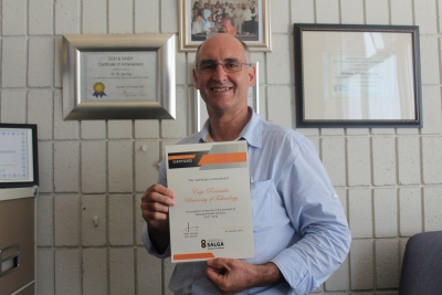 RECOGNITION: Michael Agenbag, a lecturer in the Department of Environmental Health, shows the Recognition Certificate awarded to CPUT by SALGA at a recent Municipal Health Services summit