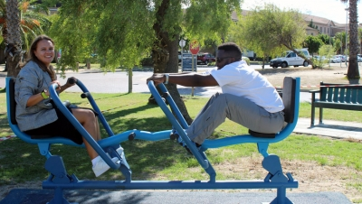KEEPING FIT: Staff and students are invited to use the outdoor gym.