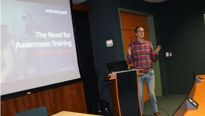 VIGILANTISM: Duane Nicol from Mimecast explains the need for cyber security awareness training during a recent workshop held on the Bellville Campus.