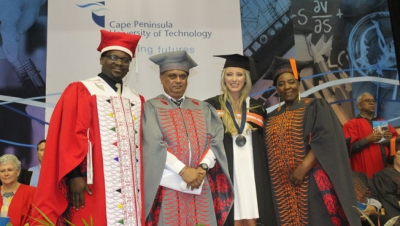 EDUCATION GEEK: From left, Vice-Chancellor, Prof Chris Nhlapo, Deputy Vice-Chancellor: Teaching and Learning, Prof Rishidaw Balkaran and Education Dean, Prof Thobeka Mda, congratulate Annemarie Visser for walking away with the Dean's Medal for her academic performance.