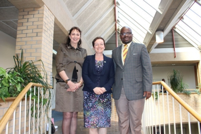 CAMARADERIE: Irish Ambassador in South Africa, Fionnuala Ni Giolla Seanain flanked by Strategy and Internationalisation Director, Prof René Pellissier and Vice-Chancellor, Prof Chris Nhlapo.