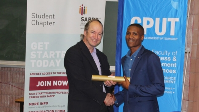 RECOGNITION: South African Board for People Practices (SABPP) Chief executive, Marius Meyer, hands out a certificate to a CPUT Human Resource Management student during the launch of the SABPP CPUT Student Chapter