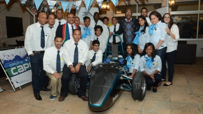MASTER ENGINEERS: The Cape Speed team unveiled their formula racing car which has been named Prins, after CPUT Vice-Chancellor, Dr Prins Nevhutalu.