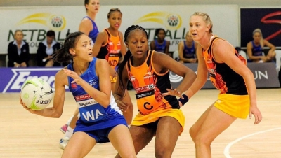 IN ACTION: Education student Shannen Bartlett (with ball) plays for the Western Cape's Southern Stings' in the national Telkom Netball League.