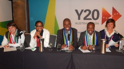 NATIONAL PRIDE: The South African Delegation with CPUT SRC President Mbongiseni Mbatha (second from right) prepares its presentation to the recent Y20 Summit in Sydney, Australia.