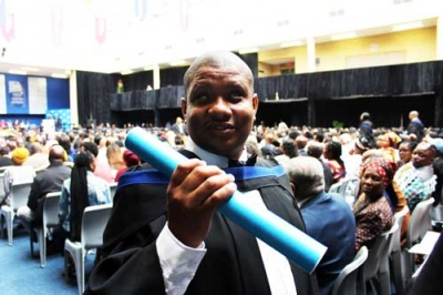 AMBITIOUS: Ornette Danse, a blind call centre agent, graduates today with a National Diploma in Public Management