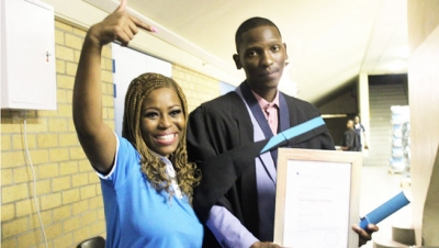 TURNING LIFE AROUND: Mzukisi Ngxongxela celebrates with Unathi Matiwane after receiving a Dean's Medal during the graduation ceremony of the Faculty of Applied Sciences.