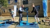HEALTHY LIFESTYLE: Facilities and Protection Services Director, Gavin Solomons (middle), gets acquainted with fitness equipment during the Outdoor Gym Launch at the Bellville Campus.