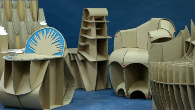ECO-FRIENDLY: Product Design students designed and manufactured the cardboard chairs.