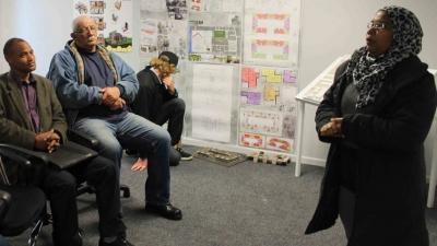 PASSIONATE: Community partner Na-eema Schwartz addresses the group