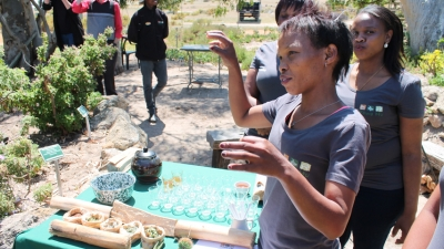Sanna Kruiper educates guests about the medicinal properties of plants that are grown in the garden tended by herself and her fellow trainees