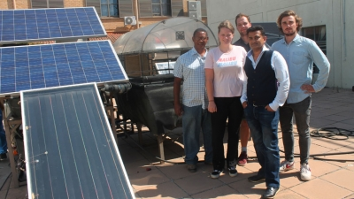 LESSONS LEARNED: (l-r) Christiaan Hartzenberg, Nina van Savooijen, Stijn Burmanj, Fareed Ismail (front) and Douwe Schoemaker in the Mechanical Engineering Courtyard which sports a aquaponics system.