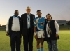VICTORY: From left, Vice-chancellor, Prof Chris Nhlapo, Executive Director: Finance, Peter du Plessis, and Dean of Students Prem Coopoo congratulate FNBCPUT captain Lunathi Nxele after thumping FNBWSU 40 – 8 on the Bellville Campus.